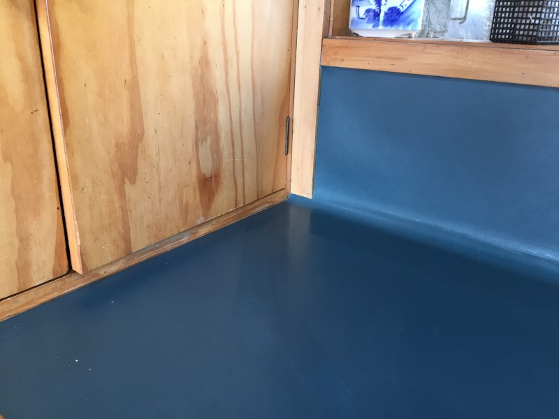 Marmoleum kitchen worktop detail